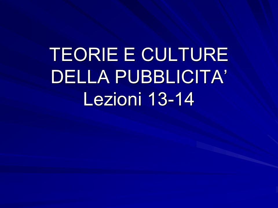 TEORIE E CULTURE DELLA PUBBLICITA Lezioni 13-14
