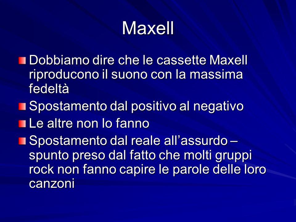 Maxell Dobbiamo dire che le cassette Maxell riproducono il suono con la massima fedeltà Spostamento dal positivo al negativo Le altre non lo fanno Spostamento dal reale allassurdo – spunto preso dal fatto che molti gruppi rock non fanno capire le parole delle loro canzoni