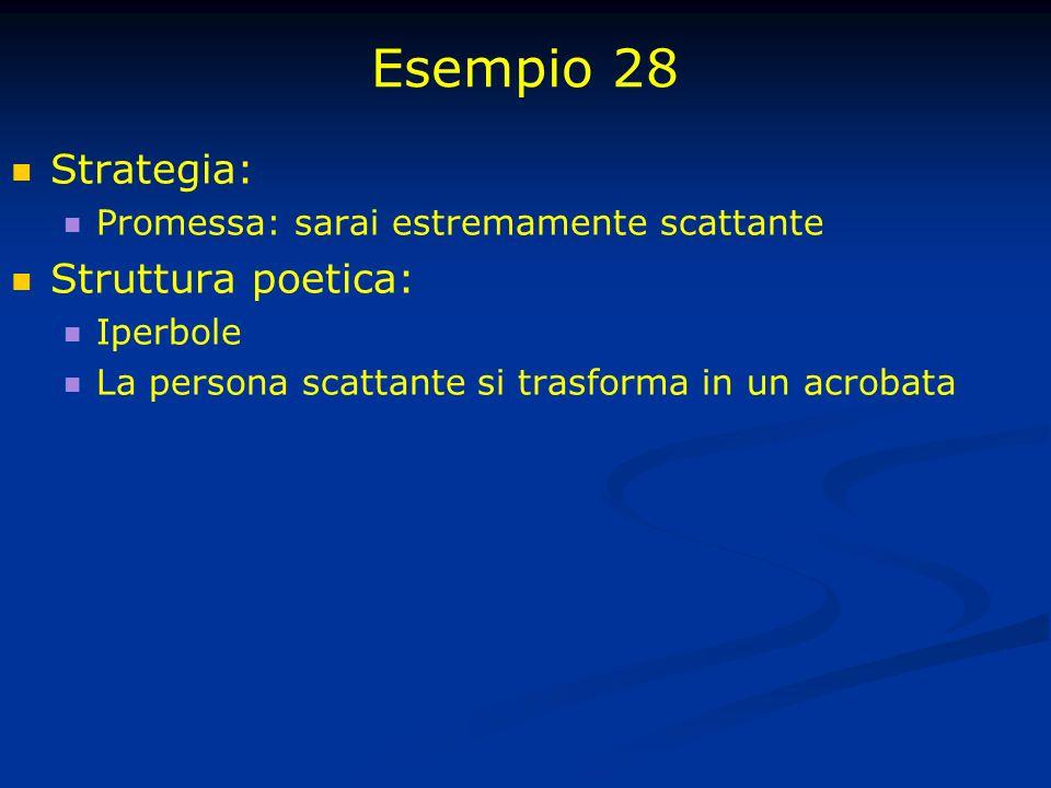Esempio 28 Strategia: Promessa: sarai estremamente scattante Struttura poetica: Iperbole La persona scattante si trasforma in un acrobata