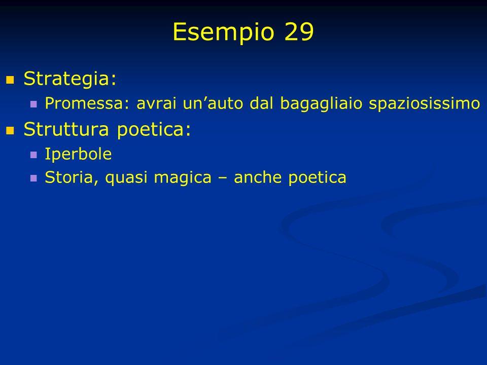 Esempio 29 Strategia: Promessa: avrai unauto dal bagagliaio spaziosissimo Struttura poetica: Iperbole Storia, quasi magica – anche poetica