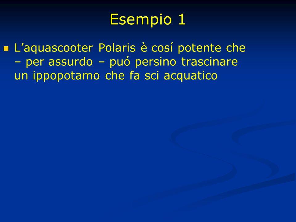 Esempio 1 Laquascooter Polaris è cosí potente che – per assurdo – puó persino trascinare un ippopotamo che fa sci acquatico