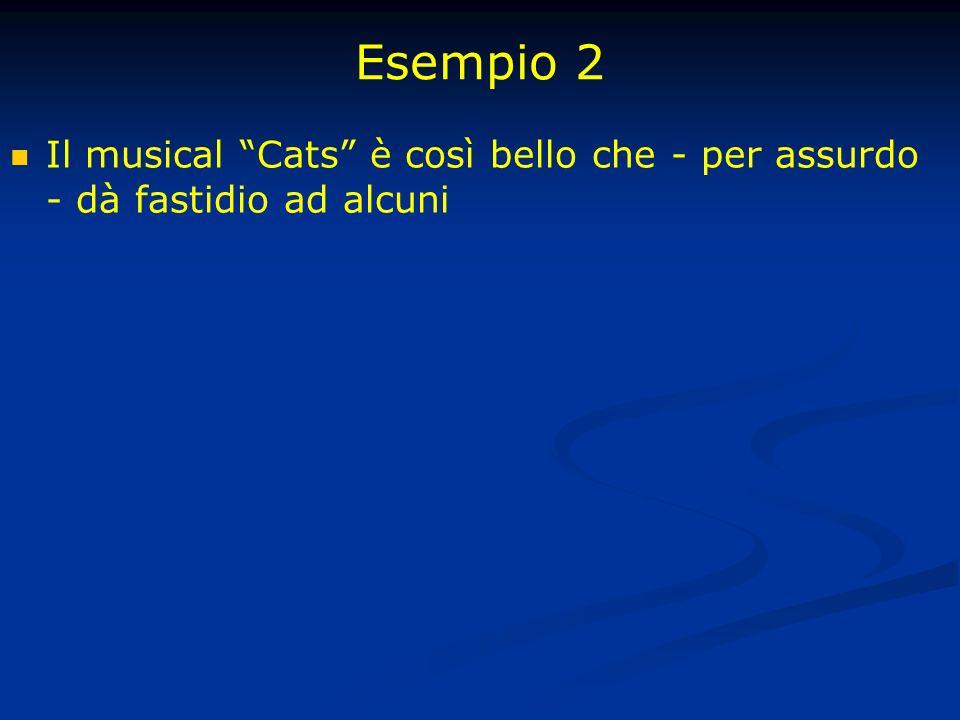 Esempio 2 Il musical Cats è così bello che - per assurdo - dà fastidio ad alcuni
