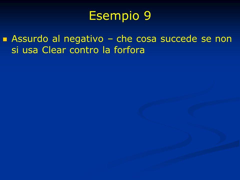 Esempio 9 Assurdo al negativo – che cosa succede se non si usa Clear contro la forfora