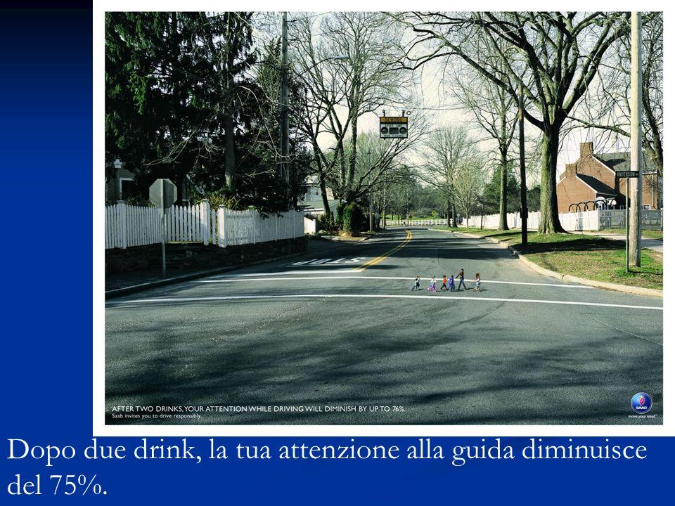 Dopo due drink, la tua attenzione alla guida diminuisce del 75%.
