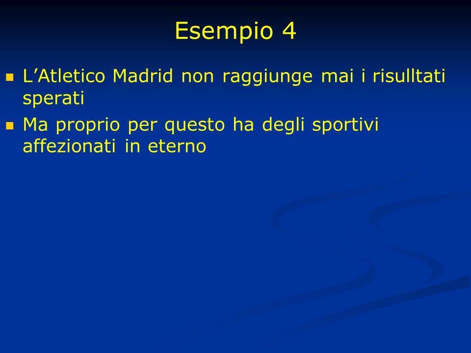 Esempio 4 LAtletico Madrid non raggiunge mai i risulltati sperati Ma proprio per questo ha degli sportivi affezionati in eterno