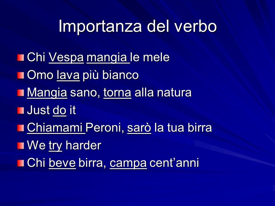 Importanza del verbo Chi Vespa mangia le mele Omo lava più bianco Mangia sano, torna alla natura Just do it Chiamami Peroni, sarò la tua birra We try