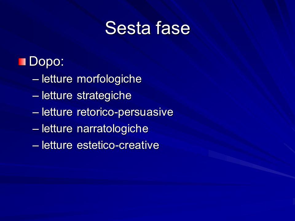Sesta fase Dopo: –letture morfologiche –letture strategiche –letture retorico-persuasive –letture narratologiche –letture estetico-creative