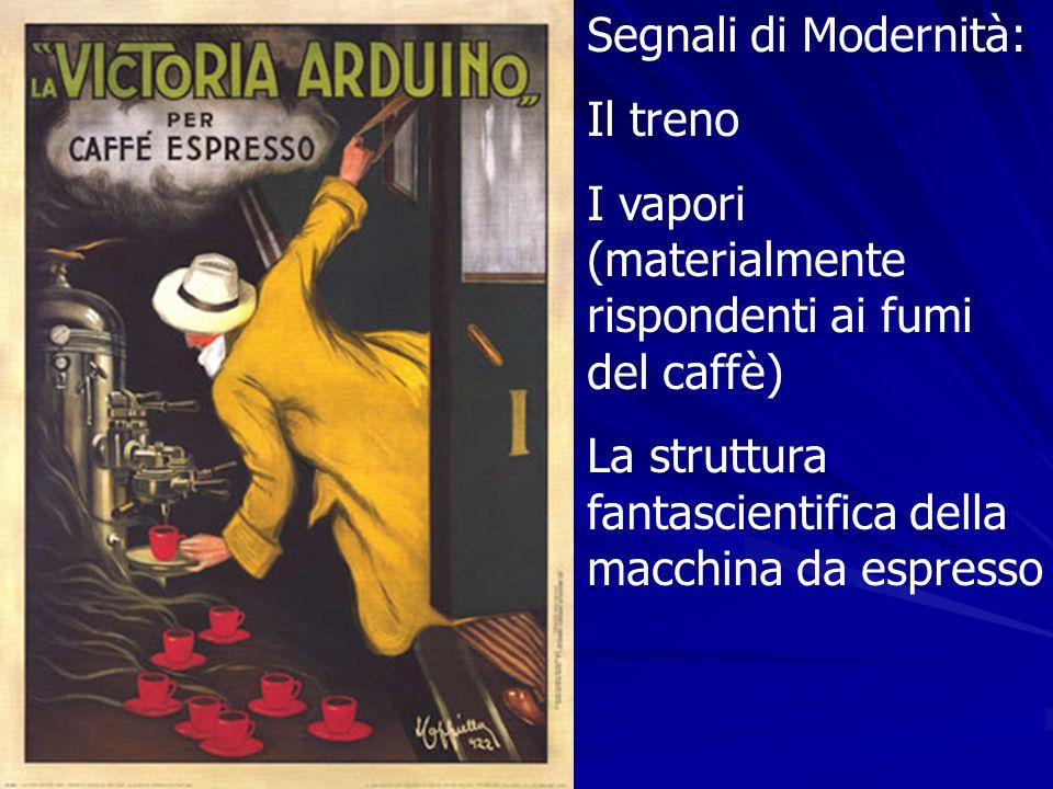Segnali di Modernità: Il treno I vapori (materialmente rispondenti ai fumi del caffè) La struttura fantascientifica della macchina da espresso