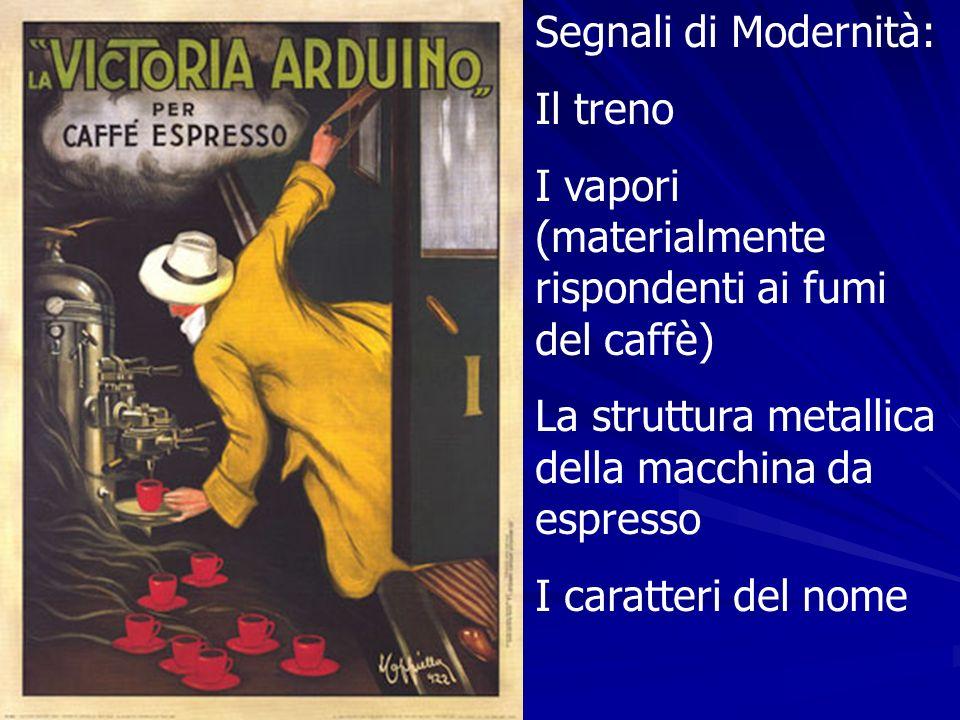 Segnali di Modernità: Il treno I vapori (materialmente rispondenti ai fumi del caffè) La struttura metallica della macchina da espresso I caratteri de