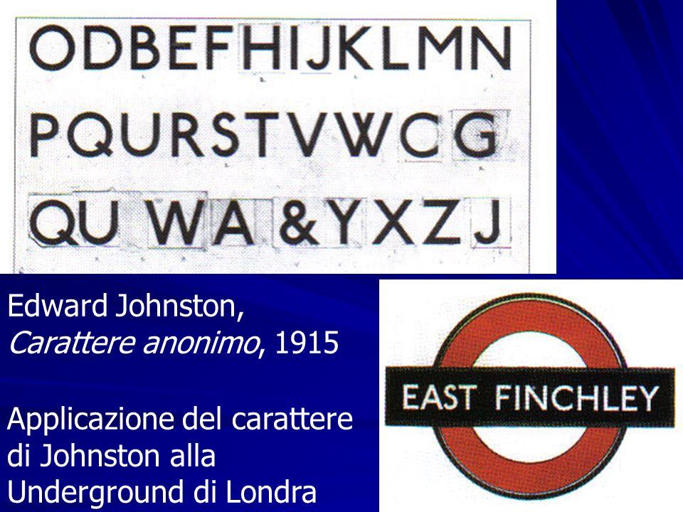 Edward Johnston, Carattere anonimo, 1915 Applicazione del carattere di Johnston alla Underground di Londra