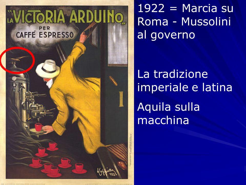1922 = Marcia su Roma - Mussolini al governo La tradizione imperiale e latina Aquila sulla macchina