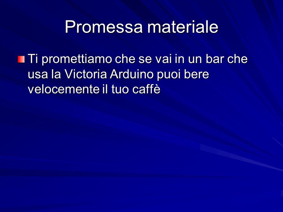 Promessa materiale Ti promettiamo che se vai in un bar che usa la Victoria Arduino puoi bere velocemente il tuo caffè