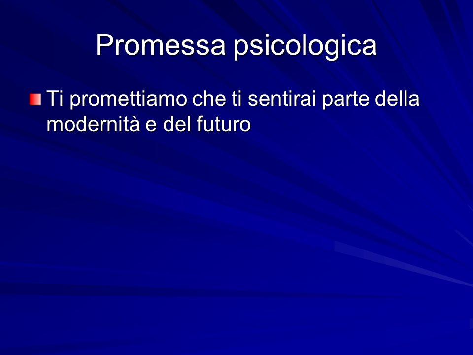 Promessa psicologica Ti promettiamo che ti sentirai parte della modernità e del futuro