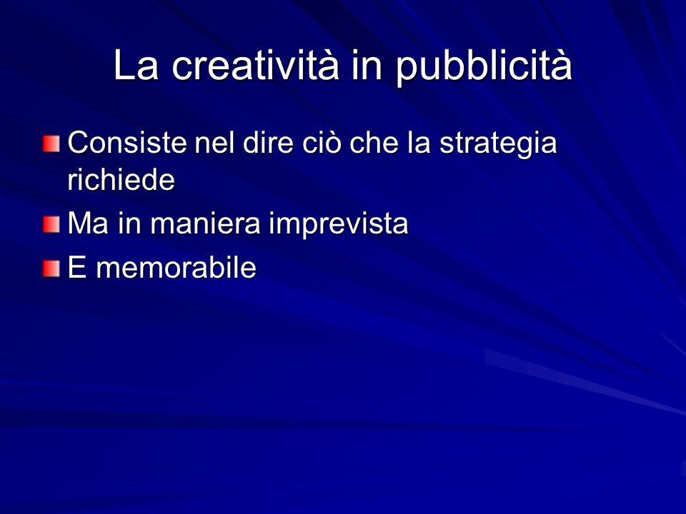La creatività in pubblicità Consiste nel dire ciò che la strategia richiede Ma in maniera imprevista E memorabile