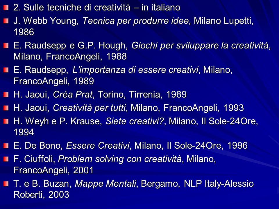 2. Sulle tecniche di creatività – in italiano J.