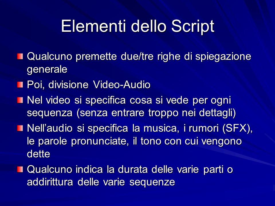 Elementi dello Script Qualcuno premette due/tre righe di spiegazione generale Poi, divisione Video-Audio Nel video si specifica cosa si vede per ogni sequenza (senza entrare troppo nei dettagli) Nellaudio si specifica la musica, i rumori (SFX), le parole pronunciate, il tono con cui vengono dette Qualcuno indica la durata delle varie parti o addirittura delle varie sequenze