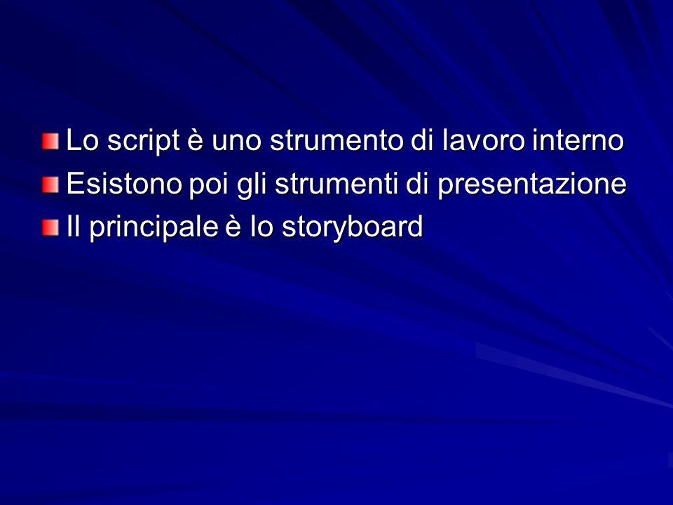 Lo script è uno strumento di lavoro interno Esistono poi gli strumenti di presentazione Il principale è lo storyboard