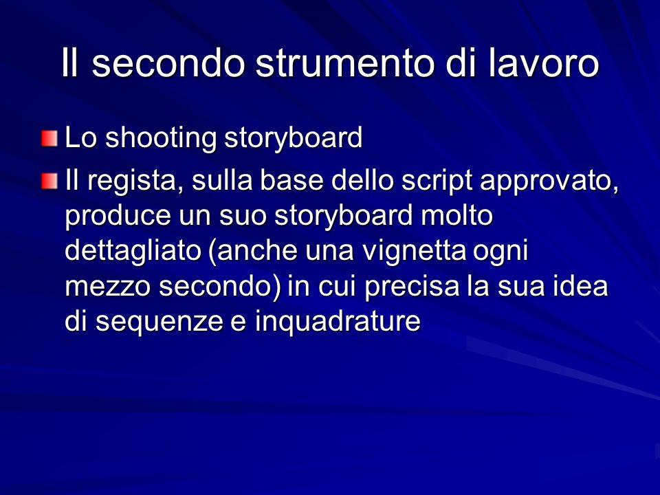 Il secondo strumento di lavoro Lo shooting storyboard Il regista, sulla base dello script approvato, produce un suo storyboard molto dettagliato (anch