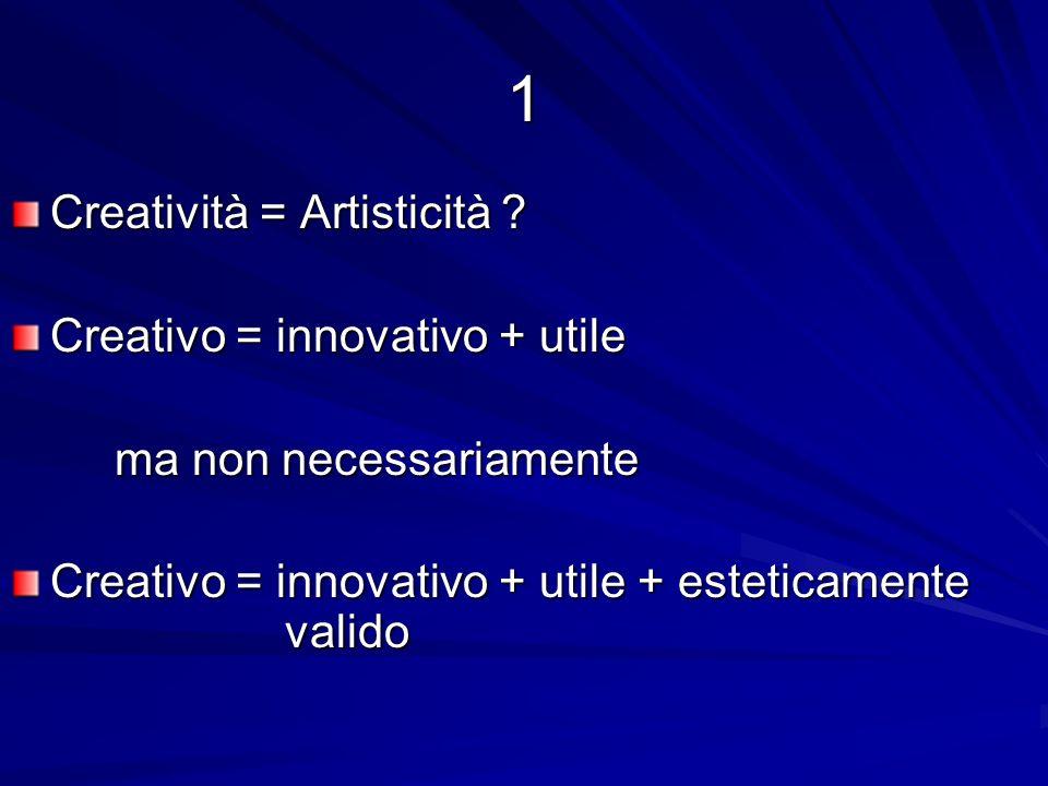 1 Creatività = Artisticità ? Creativo = innovativo + utile ma non necessariamente ma non necessariamente Creativo = innovativo + utile + esteticamente