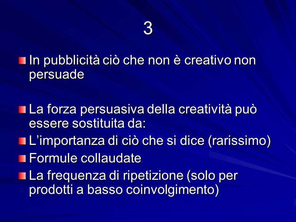 3 In pubblicità ciò che non è creativo non persuade La forza persuasiva della creatività può essere sostituita da: Limportanza di ciò che si dice (rarissimo) Formule collaudate La frequenza di ripetizione (solo per prodotti a basso coinvolgimento)