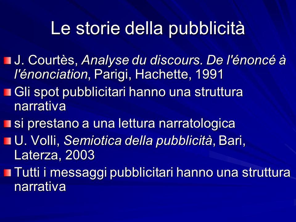 Le storie della pubblicità J. Courtès, Analyse du discours. De l'énoncé à l'énonciation, Parigi, Hachette, 1991 Gli spot pubblicitari hanno una strutt