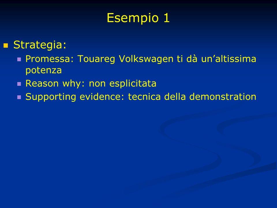 Esempio 1 Strategia: Promessa: Touareg Volkswagen ti dà unaltissima potenza Reason why: non esplicitata Supporting evidence: tecnica della demonstrati