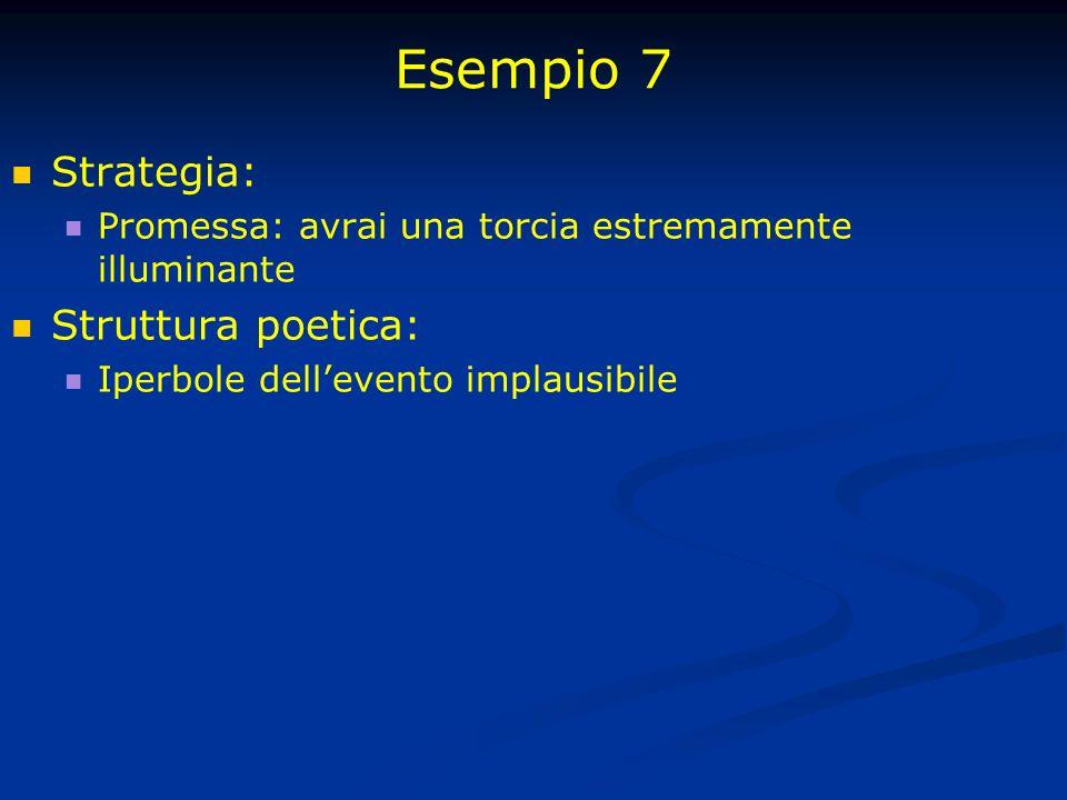 Esempio 7 Strategia: Promessa: avrai una torcia estremamente illuminante Struttura poetica: Iperbole dellevento implausibile