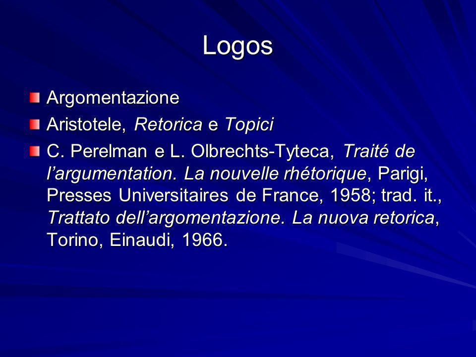 Logos Argomentazione Aristotele, Retorica e Topici C. Perelman e L. Olbrechts-Tyteca, Traité de largumentation. La nouvelle rhétorique, Parigi, Presse