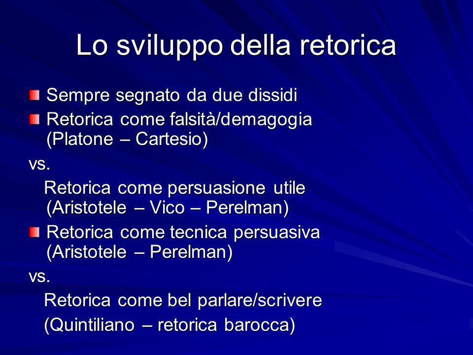 Lo sviluppo della retorica Sempre segnato da due dissidi Retorica come falsità/demagogia (Platone – Cartesio) vs. Retorica come persuasione utile (Ari