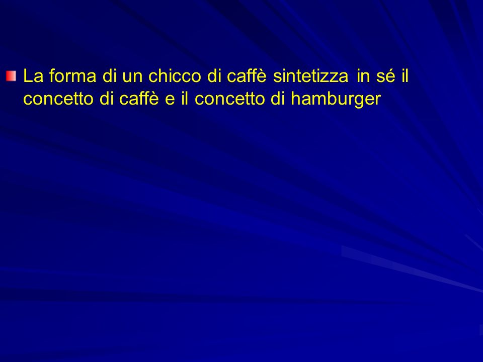 La forma di un chicco di caffè sintetizza in sé il concetto di caffè e il concetto di hamburger