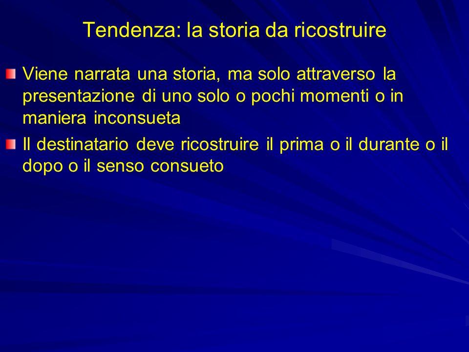 Tendenza: la storia da ricostruire Viene narrata una storia, ma solo attraverso la presentazione di uno solo o pochi momenti o in maniera inconsueta Il destinatario deve ricostruire il prima o il durante o il dopo o il senso consueto