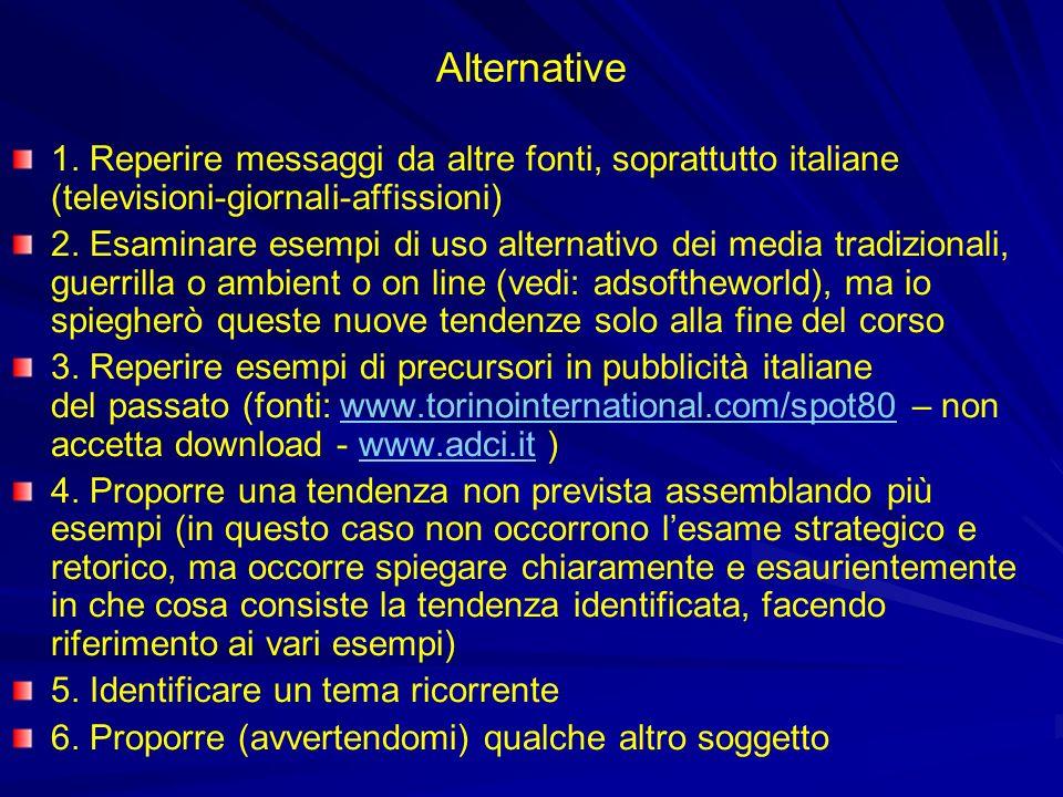 Alternative 1. Reperire messaggi da altre fonti, soprattutto italiane (televisioni-giornali-affissioni) 2. Esaminare esempi di uso alternativo dei med