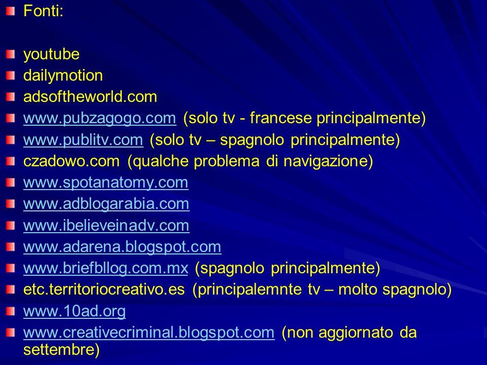 Fonti: youtube dailymotion adsoftheworld.com www.pubzagogo.comwww.pubzagogo.com (solo tv - francese principalmente) www.publitv.comwww.publitv.com (so