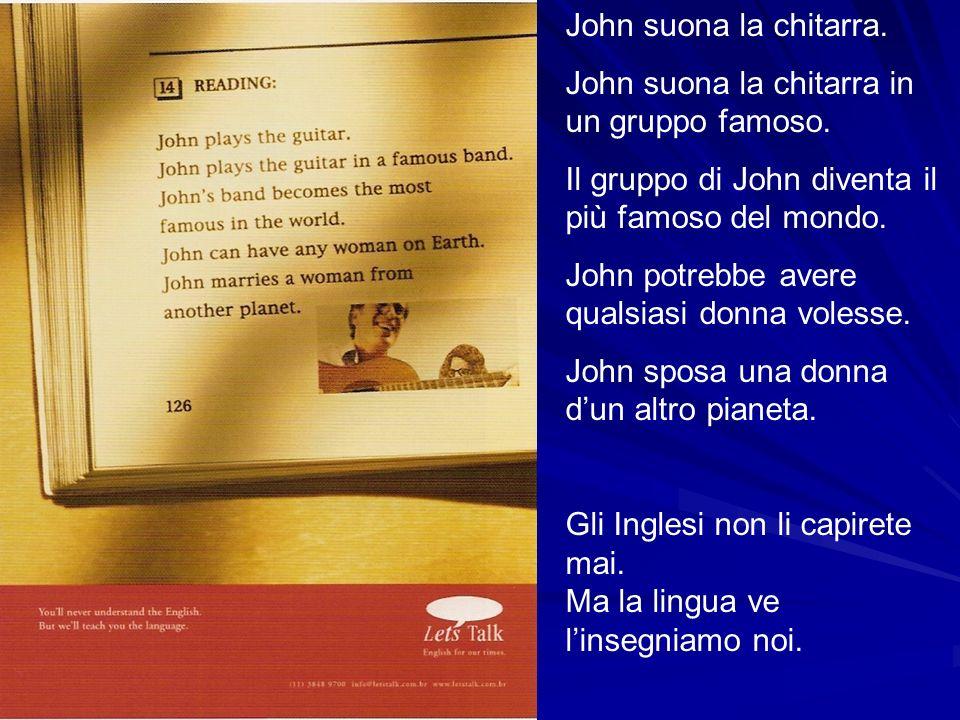 John suona la chitarra. John suona la chitarra in un gruppo famoso. Il gruppo di John diventa il più famoso del mondo. John potrebbe avere qualsiasi d