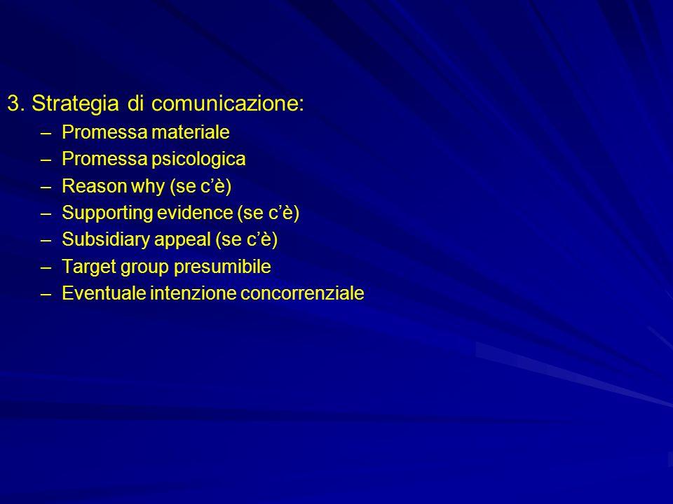 3. Strategia di comunicazione: –Promessa materiale –Promessa psicologica –Reason why (se cè) –Supporting evidence (se cè) –Subsidiary appeal (se cè) –