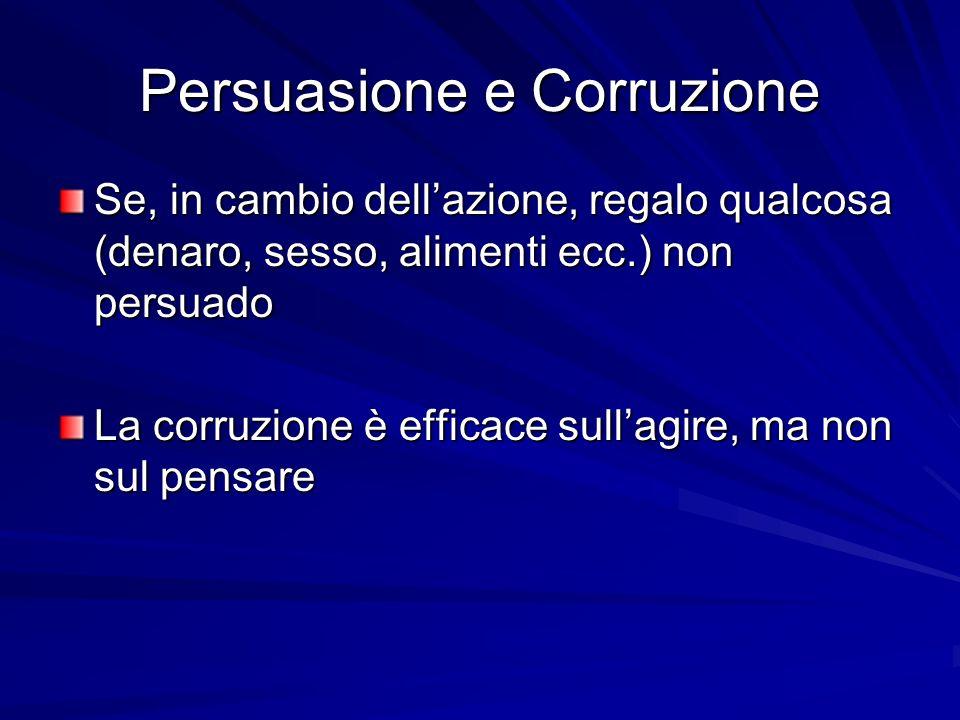 PERSUASIONE MUTAMENTO DI ATTEGGIAMENTO AZIONE COERCIZIONECORRUZIONE