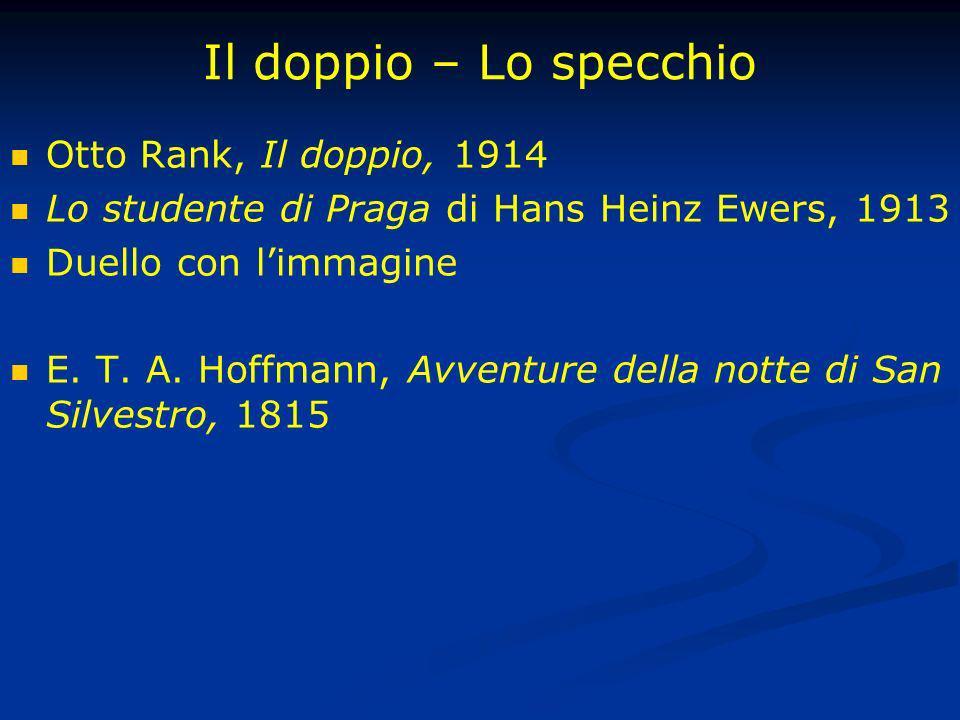 Il doppio – Lo specchio Otto Rank, Il doppio, 1914 Lo studente di Praga di Hans Heinz Ewers, 1913 Duello con limmagine E. T. A. Hoffmann, Avventure de