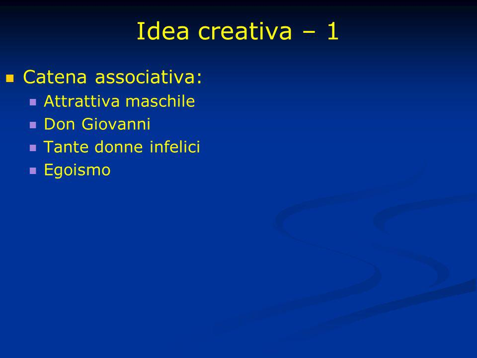Idea creativa – 1 Catena associativa: Attrattiva maschile Don Giovanni Tante donne infelici Egoismo