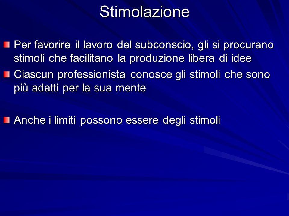 Stimolazione Per favorire il lavoro del subconscio, gli si procurano stimoli che facilitano la produzione libera di idee Ciascun professionista conosc