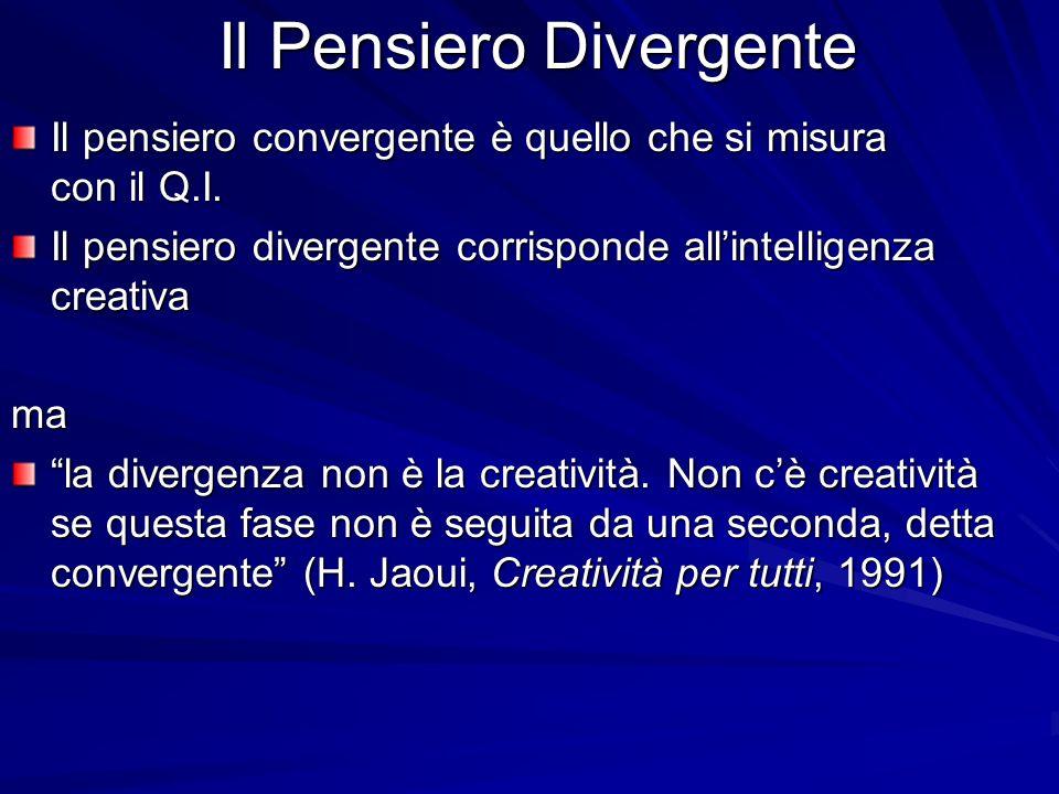 Il Pensiero Divergente Il pensiero convergente è quello che si misura con il Q.I. Il pensiero divergente corrisponde allintelligenza creativa ma la di