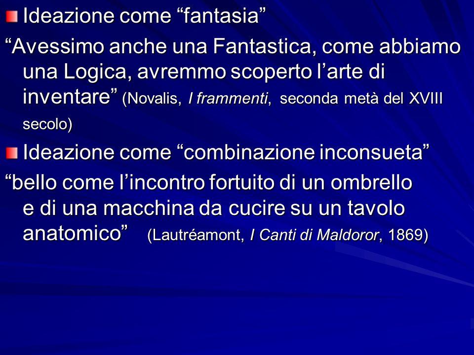 Ideazione come fantasia Avessimo anche una Fantastica, come abbiamo una Logica, avremmo scoperto larte di inventare (Novalis, I frammenti, seconda met