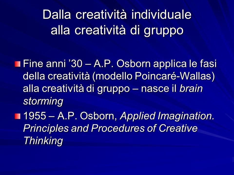 Dalla creatività individuale alla creatività di gruppo Fine anni 30 – A.P. Osborn applica le fasi della creatività (modello Poincaré-Wallas) alla crea
