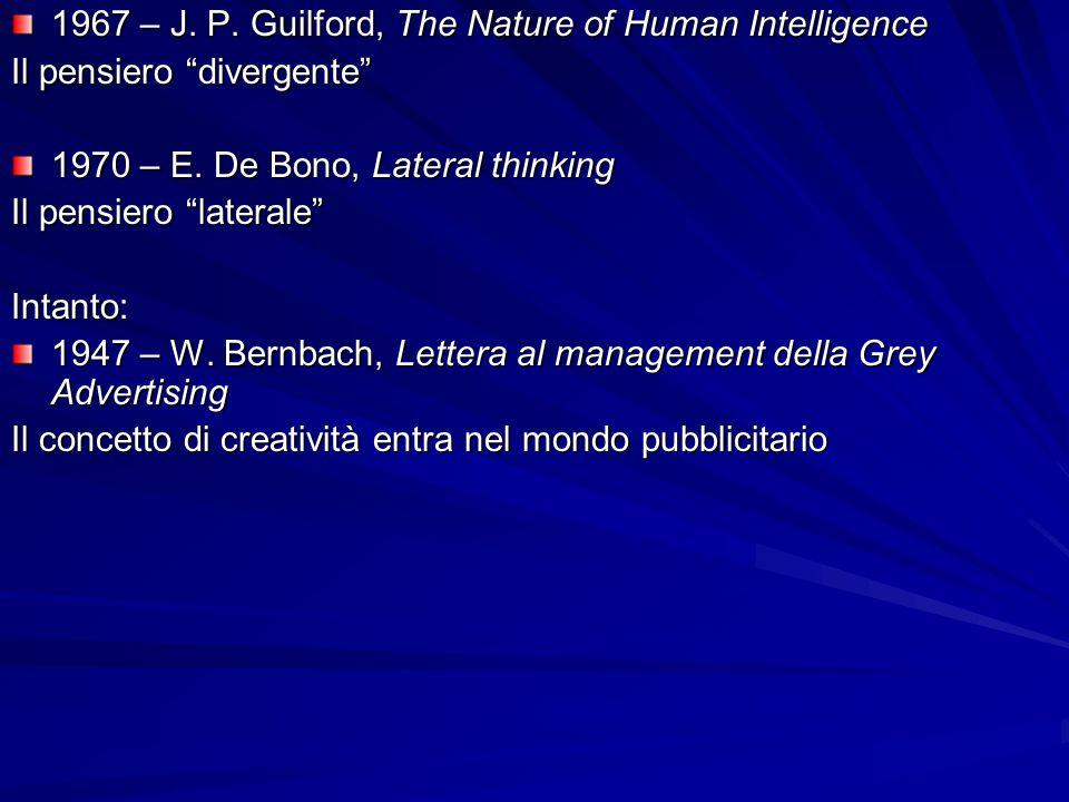 1967 – J. P. Guilford, The Nature of Human Intelligence Il pensiero divergente 1970 – E. De Bono, Lateral thinking Il pensiero laterale Intanto: 1947