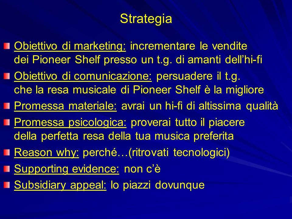 Strategia Obiettivo di marketing: incrementare le vendite dei Pioneer Shelf presso un t.g. di amanti dellhi-fi Obiettivo di comunicazione: persuadere