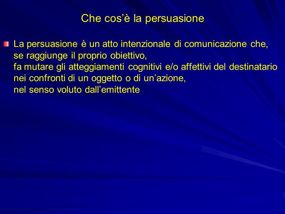 Che cosè la persuasione La persuasione è un atto intenzionale di comunicazione che, se raggiunge il proprio obiettivo, fa mutare gli atteggiamenti cog