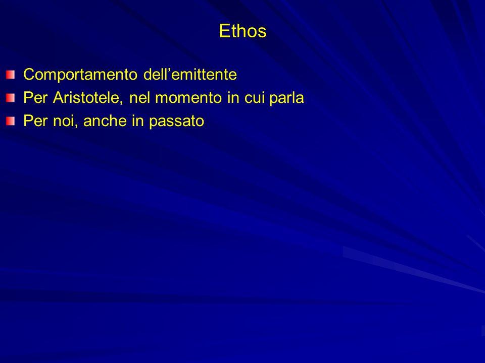 Ethos Comportamento dellemittente Per Aristotele, nel momento in cui parla Per noi, anche in passato