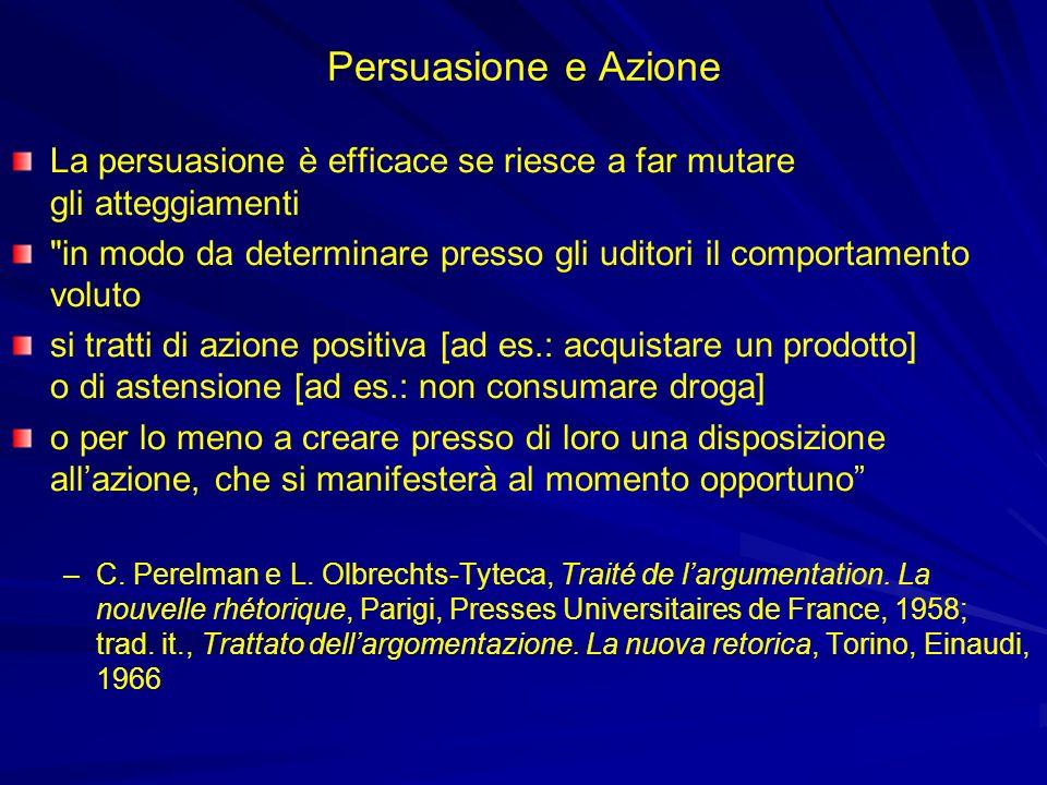 Persuasione e Azione La persuasione è efficace se riesce a far mutare gli atteggiamenti