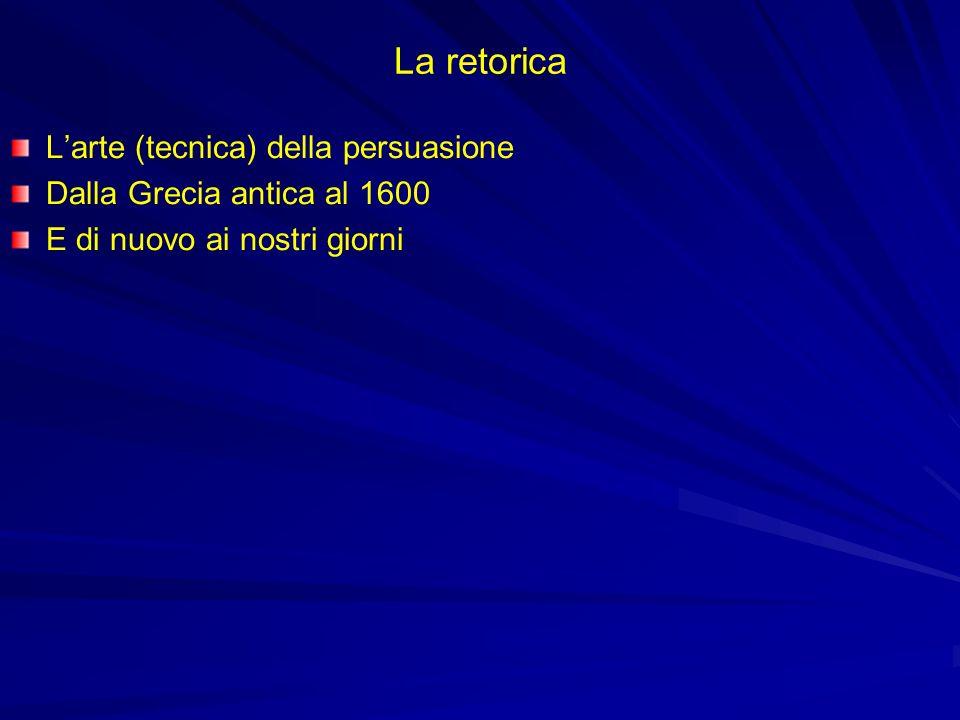 La retorica Larte (tecnica) della persuasione Dalla Grecia antica al 1600 E di nuovo ai nostri giorni