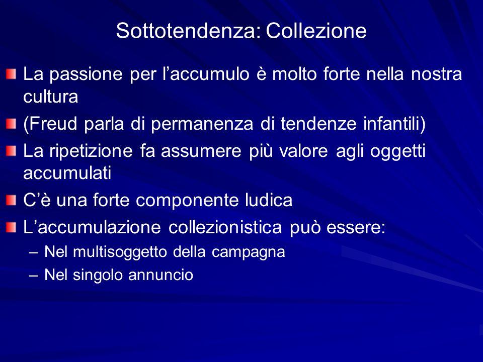 Sottotendenza: Collezione La passione per laccumulo è molto forte nella nostra cultura (Freud parla di permanenza di tendenze infantili) La ripetizion