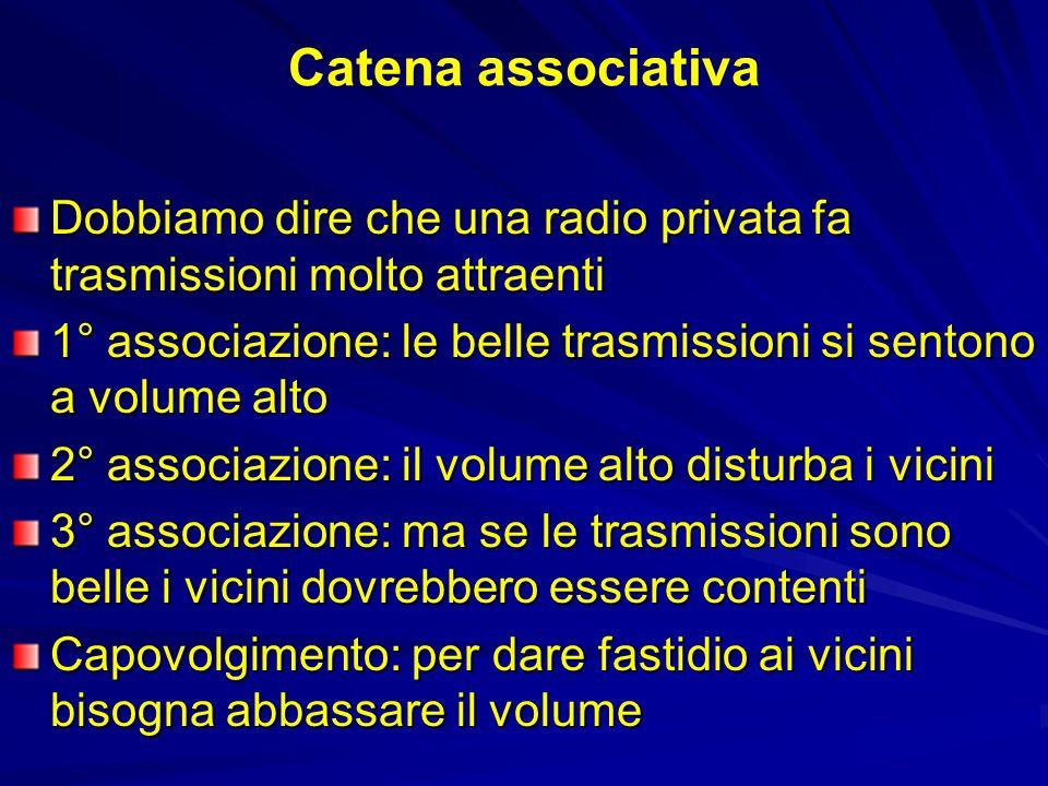 Catena associativa Dobbiamo dire che una radio privata fa trasmissioni molto attraenti 1° associazione: le belle trasmissioni si sentono a volume alto